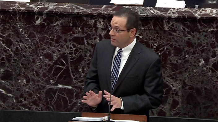 Michael Purpura, Counsel to the President, makes arguments against the removal from office of US President Donald J. Trump during the President's impeachment trial in the US Senate in the US Capitol in Washington, DC on Saturday, January 25, 2020. (Screengrab: Senate TV via Yahoo News)