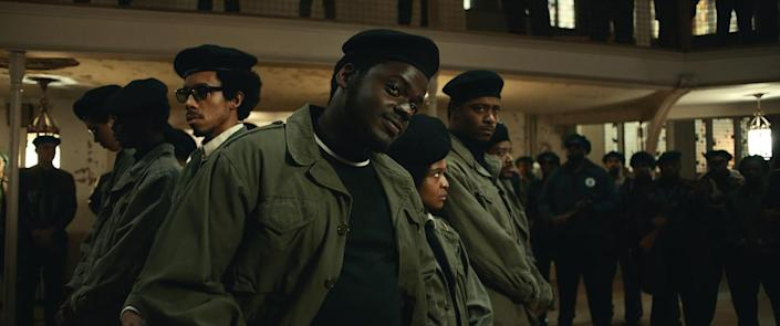 (L-r) DARRELL BRITT-GIBSON, DANIEL KALUUYA, DOMINIQUE THORNE, and LAKEITH STANFIELD in Judas and the Black Messiah