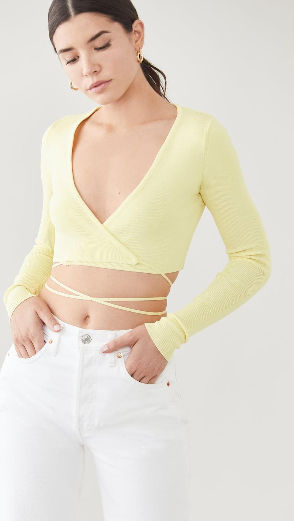 <p>This <span>Lioness Cougar Wrap Top</span> ($69) is a sign of sunny days ahead.</p>