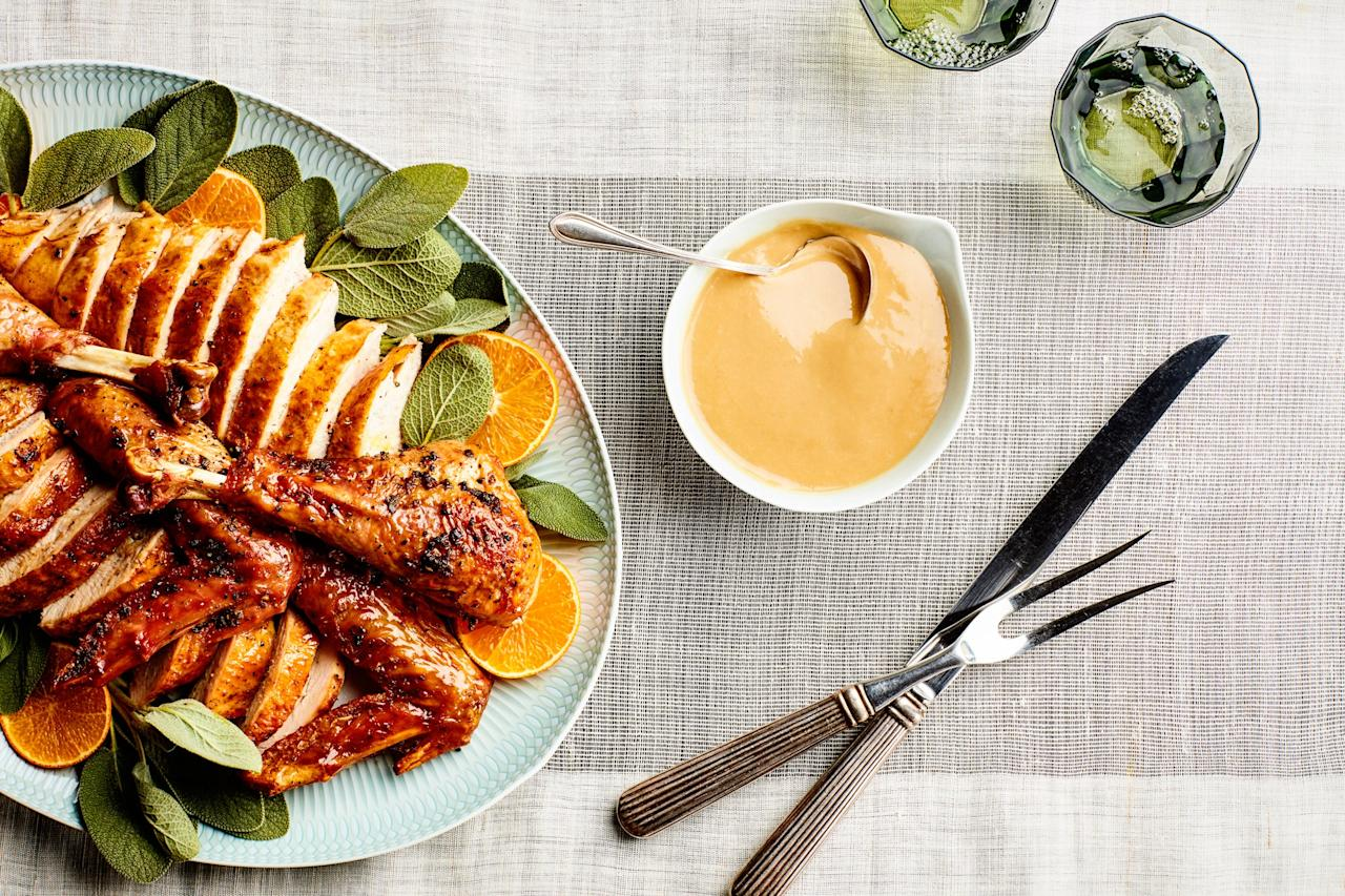 """This simple gravy can be made in advance to avoid a last-minute scramble before serving your Thanksgiving feast. Or use the rendered turkey fat and pan juices to make the gravy after roasting your bird for maximum flavor. <a href=""""https://www.epicurious.com/recipes/food/views/3-ingredient-thanksgiving-gravy?mbid=synd_yahoo_rss"""">See recipe.</a>"""