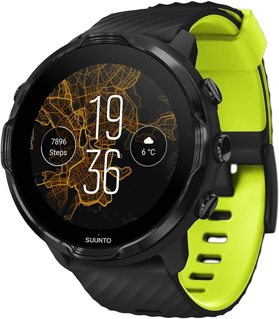 "<p><strong>SUUNTO</strong></p><p><strong>$431.10</strong></p><p><a href=""https://www.amazon.com/dp/B083W261HW?tag=syn-yahoo-20&ascsubtag=%5Bartid%7C10063.g.34933508%5Bsrc%7Cyahoo-us"" rel=""nofollow noopener"" target=""_blank"" data-ylk=""slk:BUY IT HERE"" class=""link rapid-noclick-resp"">BUY IT HERE</a></p><p>From city streets and backwoods trails to intense triathlons, the Suunto 7 GPS Sport Smartwatch was developed for sports lovers and fans of the great outdoors. Enabled with Wear OS by Google, the Suunto 7 syncs efficiently with the standalone Suunto app to deliver the best in everything from activity and workout tracking, to contactless payment and offline route navigation. Android users, this one's crafted for you and the Suunto 7 stands proudly up against Apple Watch. Enjoy a handsome 50mm display and up to 12 hours of battery life in GPS tracking mode.</p>"