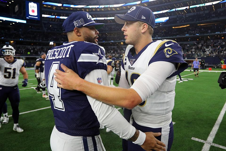 Dak Prescott is looking to top Jared Goff's four-year, $134 million extension. (Photo by Richard Rodriguez/Getty Images)