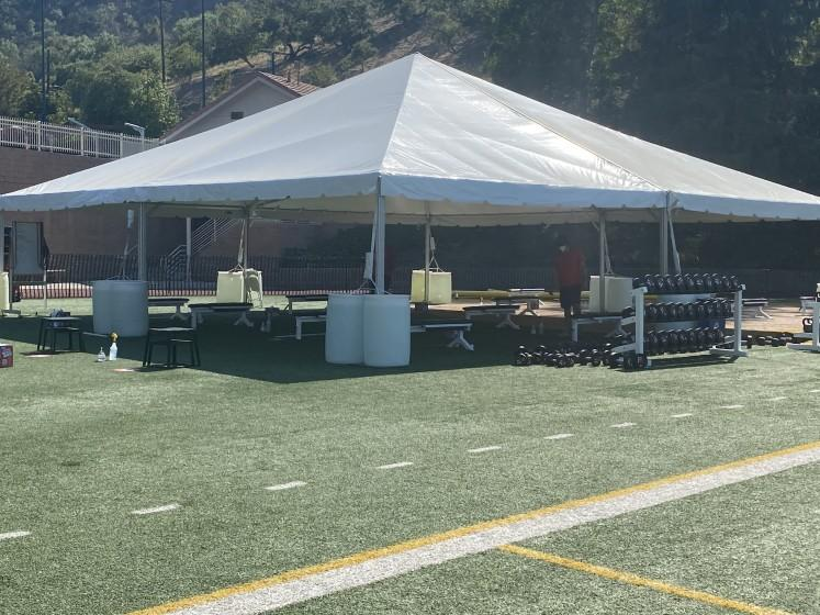 The makeshift outside weight-training facility at Harvard-Westlake to deal with COVID-19 restrictions.