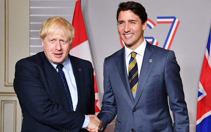 Boris Johnson with Canadian Prime Minister Justin Trudeau - Jeff J Mitchell /PA