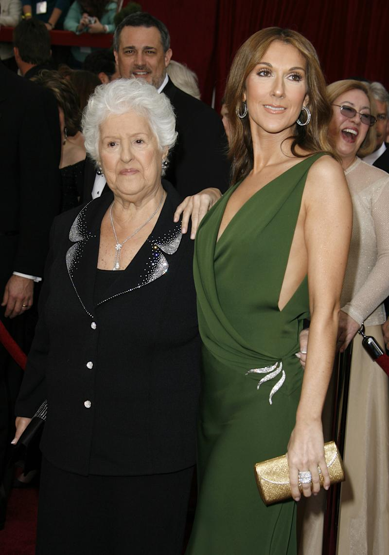 Celine Dion and mum therese during The 79th Annual Academy Awards