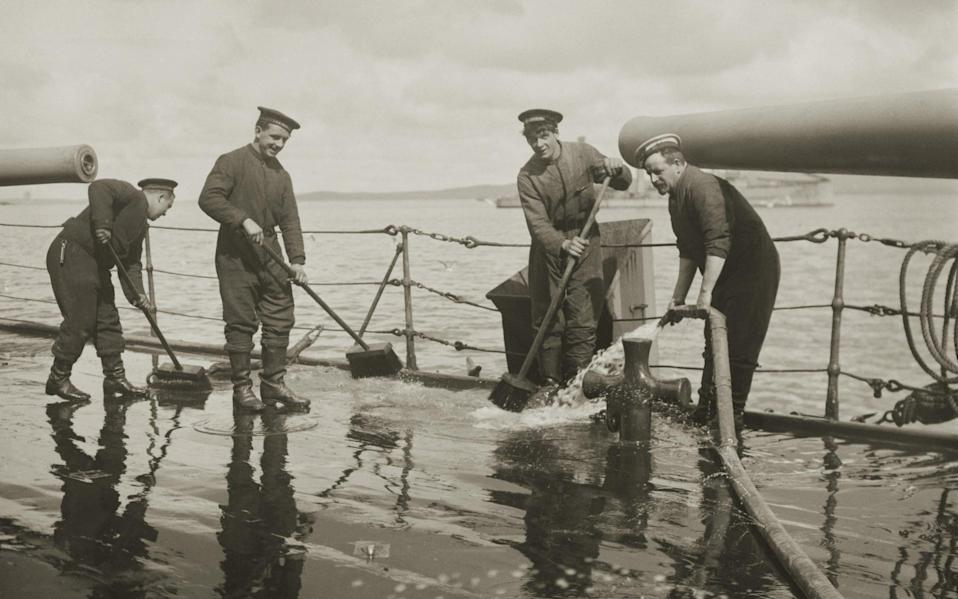 A brush-up for HMS Duke of Edinburgh, shortly after surviving the Battle of Jutland - The Montifraulo Collection/Getty