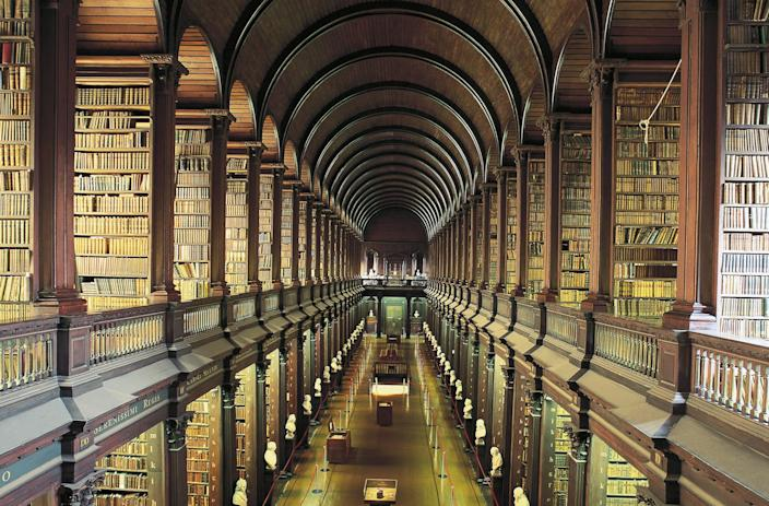Not only is Trinity College Library at the University of Dublin the largest library in the country, but it's among the most beautiful as well. The main section of the Long Room (pictured) was built in the early 18th century. Today, it contains roughly 200,000 of the library's oldest books.