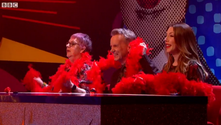 The panel consisted of Jo Brand, Frank Skinner and Katherine Ryan