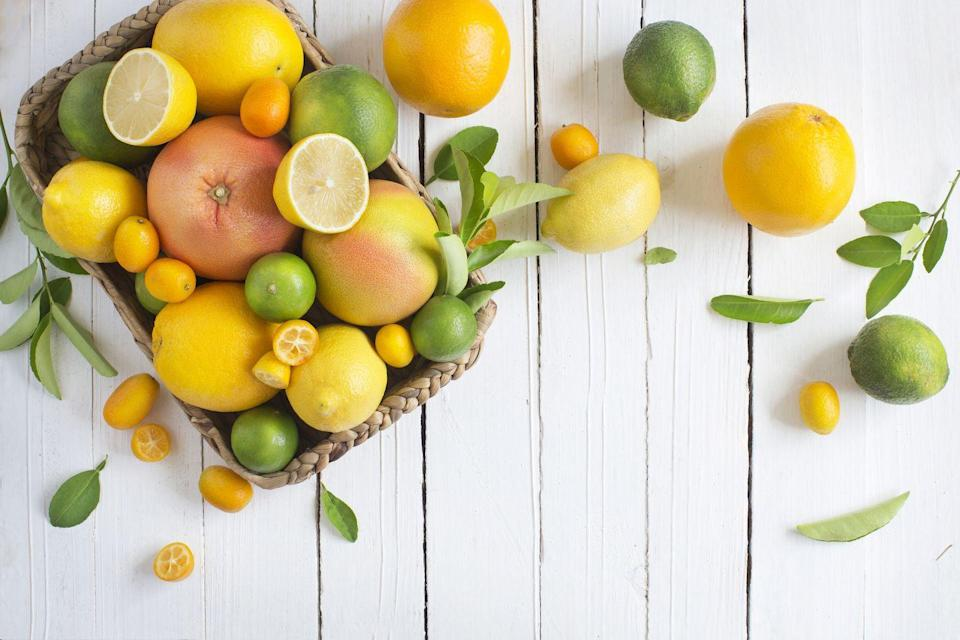 "<p>Oranges, grapefruits, and the like are jam-packed with antioxidants and fiber (just don't cut out the fibrous membrane!). While antioxidants won't necessarily cause you to shed pounds, they protect your cells from damage, reduce inflammation, and <a href=""https://www.prevention.com/food-nutrition/g26436302/citrus-fruits/"" rel=""nofollow noopener"" target=""_blank"" data-ylk=""slk:more"" class=""link rapid-noclick-resp"">more</a>. A clementine or orange is also a smart alternative to candy or other sugar-laden treats when a sweet craving hits.</p>"