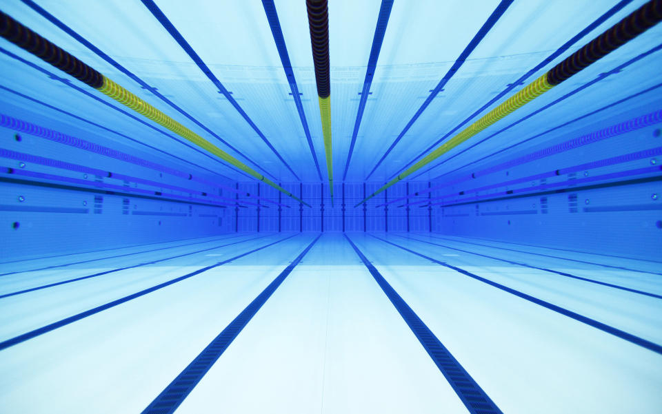 An underwater view is seen of the swimming pool at the Olympic Aquatics Centre in London February 17, 2012. REUTERS/Eddie Keogh