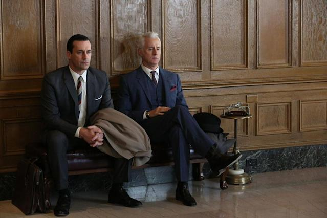 "Don Draper (Jon Hamm) and Roger Sterling (John Slattery) in the ""Mad Men"" episode, ""For Immediate Release."""