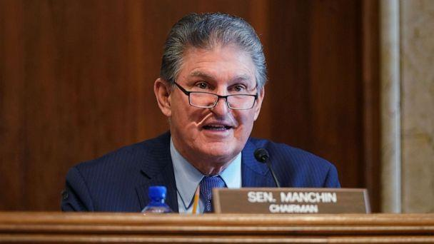 PHOTO: Sen. Joe Manchin gives opening remarks at the confirmation hearing for Rep. Debra Haaland during her confirmation hearing before the Senate Committee on Energy and Natural Resources, at the U.S. Capitol on Feb. 24, 2021, in Washington, DC. (Leigh Vogel/Getty Images)