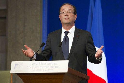 <p>French President Francois Hollande, picture June 12, faced his first political storm as his rightwing opponents looked to exploit an incendiary tweet by his partner just days ahead of a parliamentary election.</p>