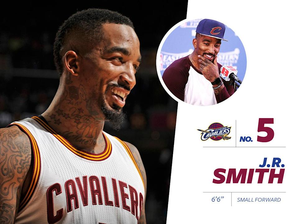 """<p>J.R. Smith (<a href=""""https://www.instagram.com/p/BErNFAqNfPf/?taken-by=teamswish&hl=en"""" rel=""""nofollow noopener"""" target=""""_blank"""" data-ylk=""""slk:also a fellow bulldog owner"""" class=""""link rapid-noclick-resp"""">also a fellow bulldog owner</a>) is among the <a href=""""http://www.hoopsvibe.com/features/170817-top-5-most-tattooed-nba-players"""" rel=""""nofollow noopener"""" target=""""_blank"""" data-ylk=""""slk:top five most tattooed NBA players"""" class=""""link rapid-noclick-resp"""">top five most tattooed NBA players</a>, apparently having <a href=""""http://www.nytimes.com/2012/12/29/sports/basketball/covering-j-r-smith-a-knick-talks-about-his-tattoos.html?_r=1"""" rel=""""nofollow noopener"""" target=""""_blank"""" data-ylk=""""slk:""""lost count"""""""" class=""""link rapid-noclick-resp"""">""""lost count""""</a> after 70 tattoos. However, each drawing has a deep, personal meaning to Smith — and some of his ink is pretty impressive. <a href=""""https://www.instagram.com/p/6oG0NDNfH-/?taken-by=teamswish&hl=en"""" rel=""""nofollow noopener"""" target=""""_blank"""" data-ylk=""""slk:Just take a look at the mural on his back"""" class=""""link rapid-noclick-resp"""">Just take a look at the mural on his back</a>. <i>Photo: Getty Images / Instagram.com</i></p>"""