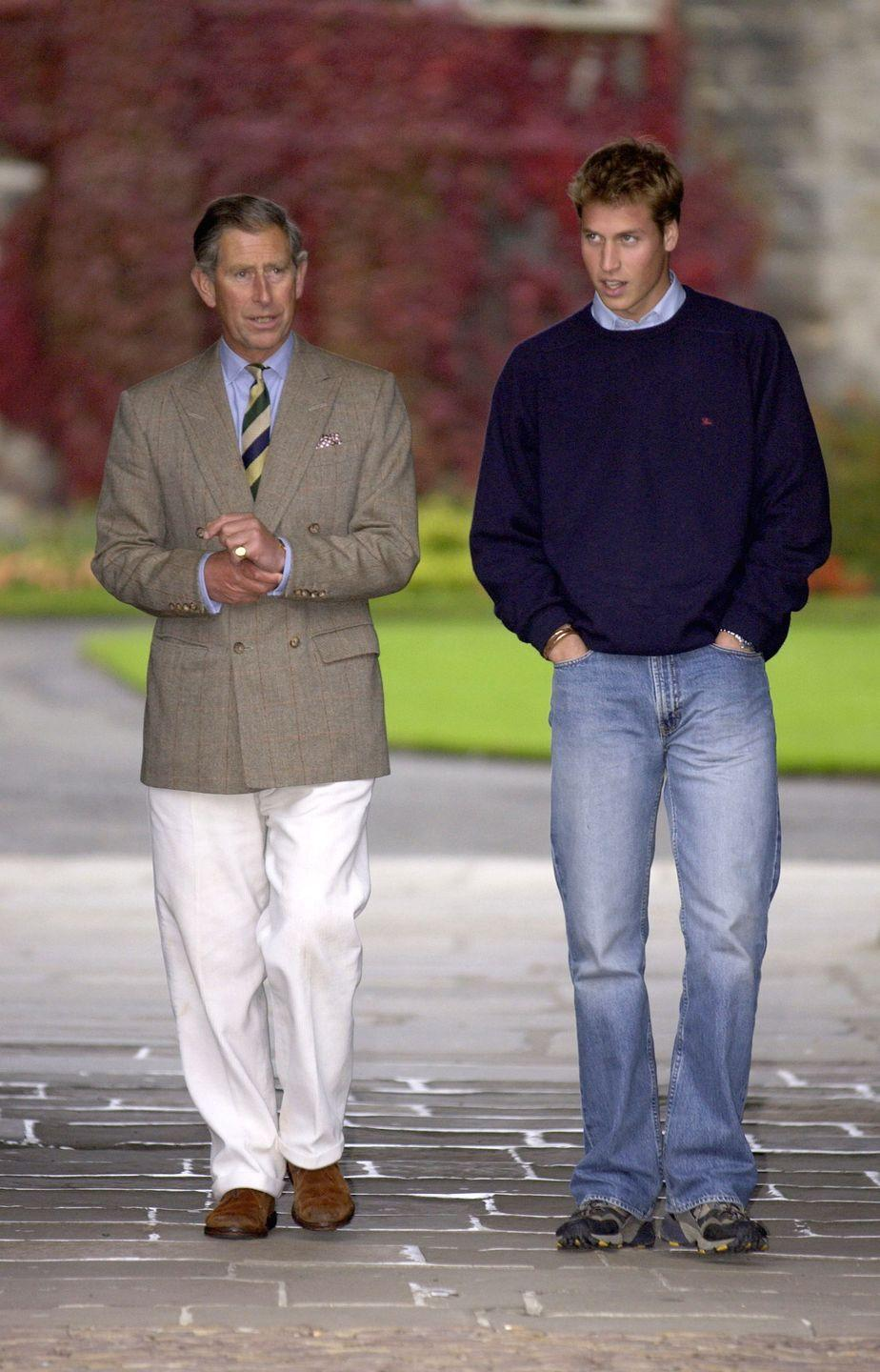 <p>Get a load of this hunky Prince-off-duty look! In 2001, Prince Charles and Prince William were photographed visiting St. Andrews University in Scotland, where William attended. Hiking shoes? Check. Faded boot cut jeans? Check. Devastatingly handsome stare? CHECK.</p>