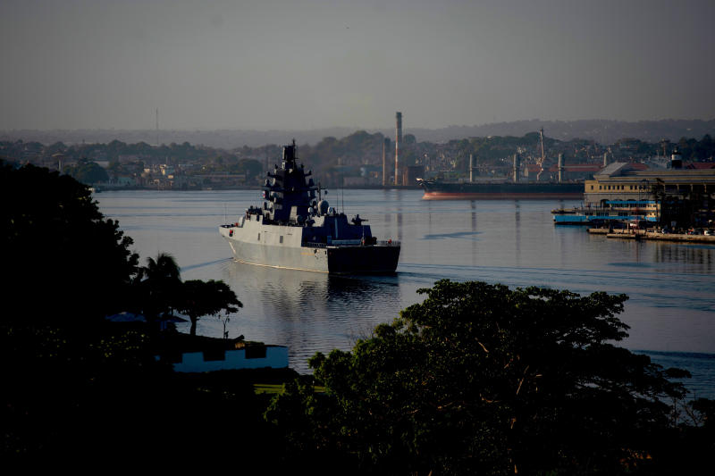 Russian Navy Admiral Gorshkov frigate arrives at the port of Havana, Cuba, Monday, June 24, 2019. A flotilla of Russian Navy vessels entered Havana Harbor early Monday morning, a sign of solidarity between Russia and Cuba after the deepening rift with the United States, which stopped all U.S. cruise ships from visiting the country earlier this month. (AP Photo/Ramon Espinosa)