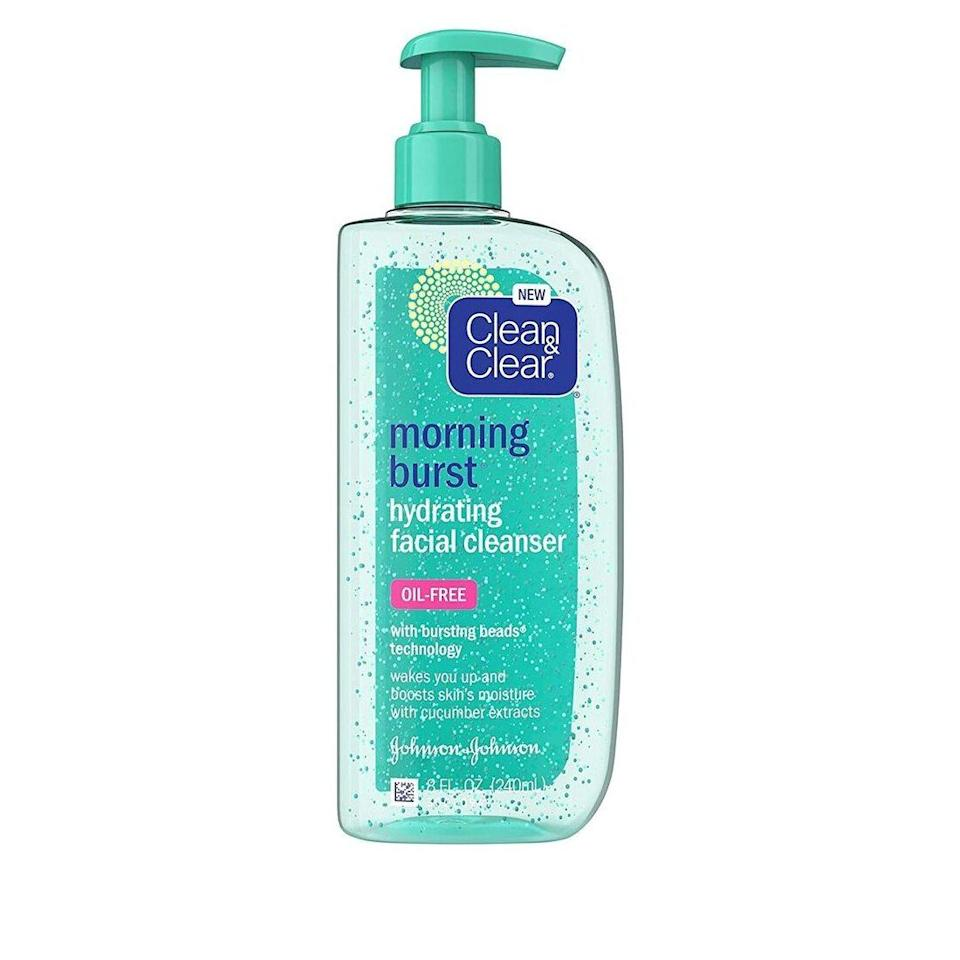 """Tiny """"burst beads"""" in Clean & Clear's oil-free Morning Burst Hydrating Facial Cleanser are filled with cooling cucumber and green mango extracts to give skin a refreshing wake-up call of hydration. The gel effortlessly eliminates dirt and excess oil without clogging pores."""