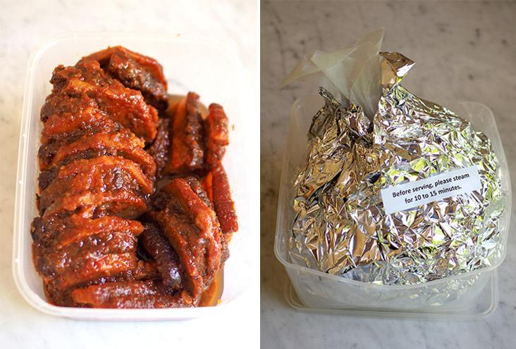 You get a substantial portion of meat with yam to feed you many happy meals (left). The chicken is wrapped in many layers of paper and foil so just steam it to heat up (right).