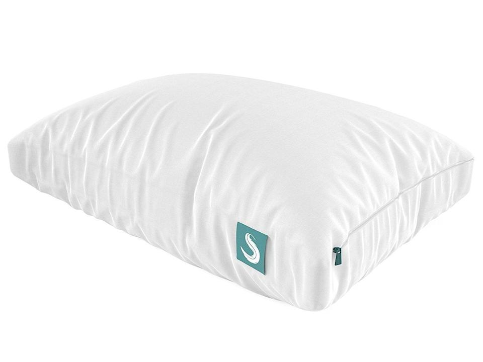 """<p>This <span>Sleepgram Adjustable Hypoallergenic Pillow</span> ($54, originally $60) is such a smart design, because it comes with inserts, so you can choose the thickness to your liking. <a href=""""https://www.popsugar.com/home/Best-Flat-Pillow-45467457"""" class=""""link rapid-noclick-resp"""" rel=""""nofollow noopener"""" target=""""_blank"""" data-ylk=""""slk:Our editors love it"""">Our editors love it</a>, and you will, too.</p>"""