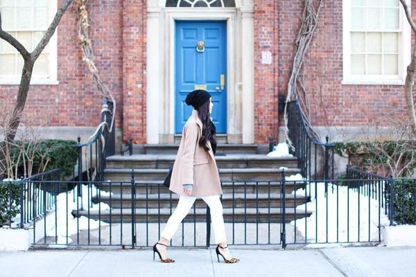 A J.Crew coat paired with neutral basics