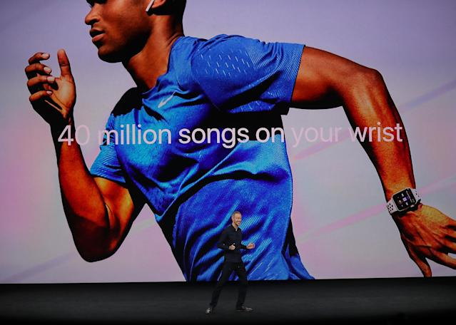 <p>Music lovers will enjoy that you can stream Apple Music from your watch, and leave your phone at home. All you need is your EarPods. (Photo by Justin Sullivan/Getty Images) </p>
