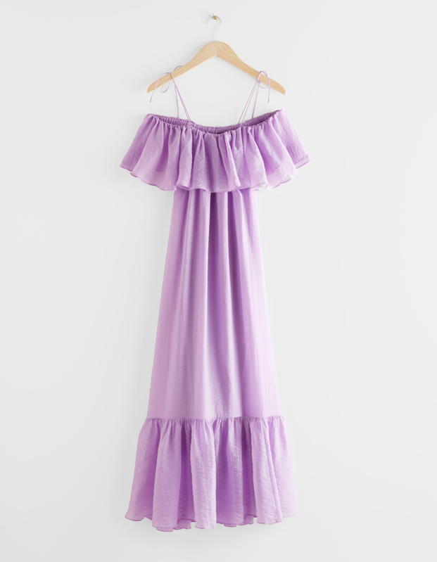 "Brighten up your giftee's day with this lavender maxi dress perfect for hot summer days spent frolicking (or lounging). $149, & Other Stories. <a href=""https://www.stories.com/en_usd/clothing/dresses/maxi-dresses/product.frill-maxi-dress-purple.0877886001.html"" rel=""nofollow noopener"" target=""_blank"" data-ylk=""slk:Get it now!"" class=""link rapid-noclick-resp"">Get it now!</a>"