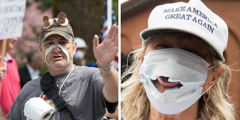 In April, demonstrators in Washington state and Maryland wear damaged masks to protest mask guidelines and stay-at-home orders. (Photo: Photos by Karen Ducey for Getty Images and Saul Loeb for AFP via Getty Images)