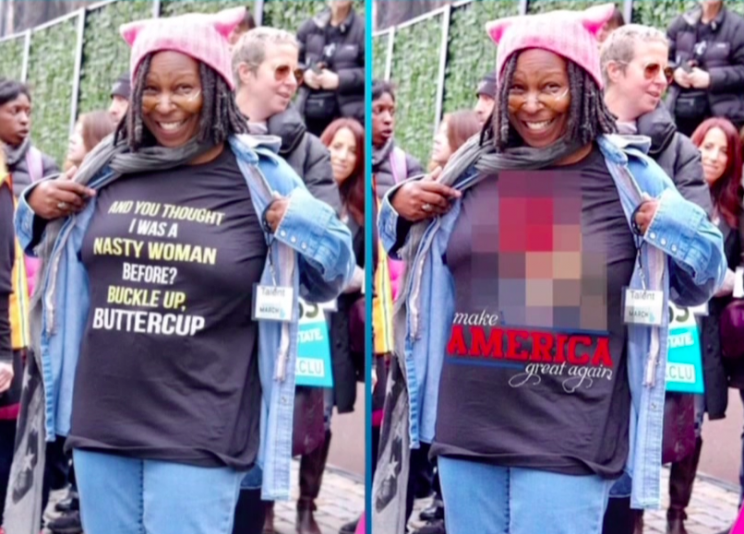 Actual image of Whoopi Goldberg at Women's March, left, next to Photoshopped image. (Photo: ABC)