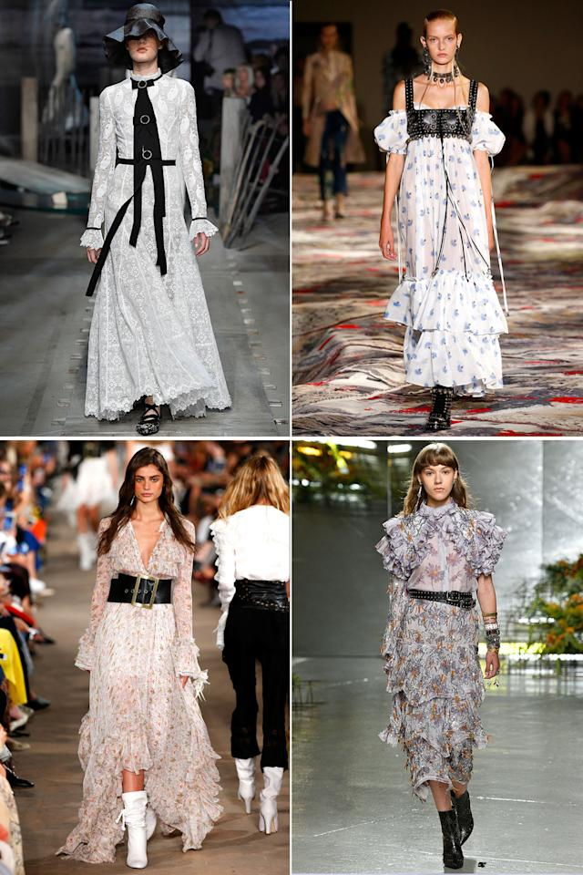 <p>Soft feminine styles are now getting an edgy twist. Try teaming your ruffled tops, floral maxi dresses and lace minis with leather belts, boots and bustiers.<em>Clockwise from top left: Erdem, Alexander McQueen, Rodarte, Philosophy Di Lorenzo Serafini</em></p>
