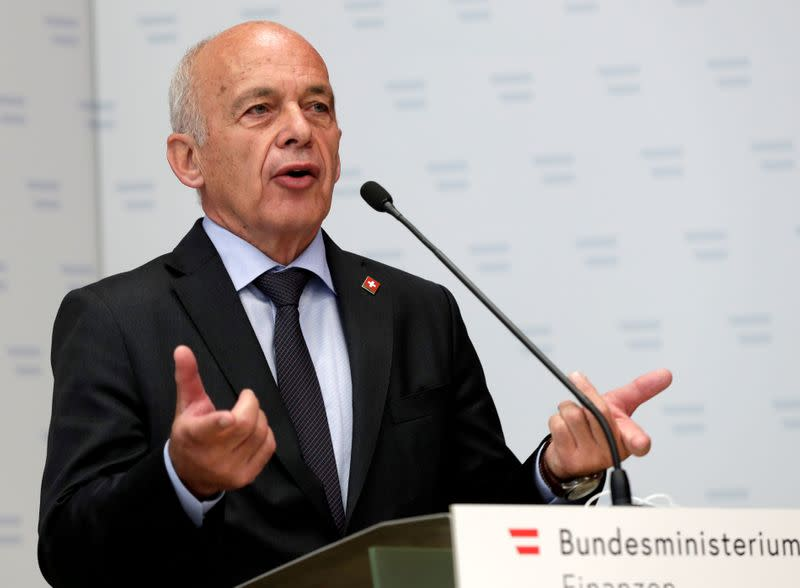Swiss Finance Minister Maurer attends a news conference in Vienna