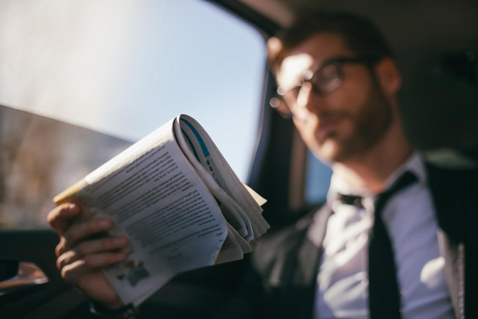 Luxury, Business, Mature Adult, Businessman, Reading, Newspaper, Business Person, Looking