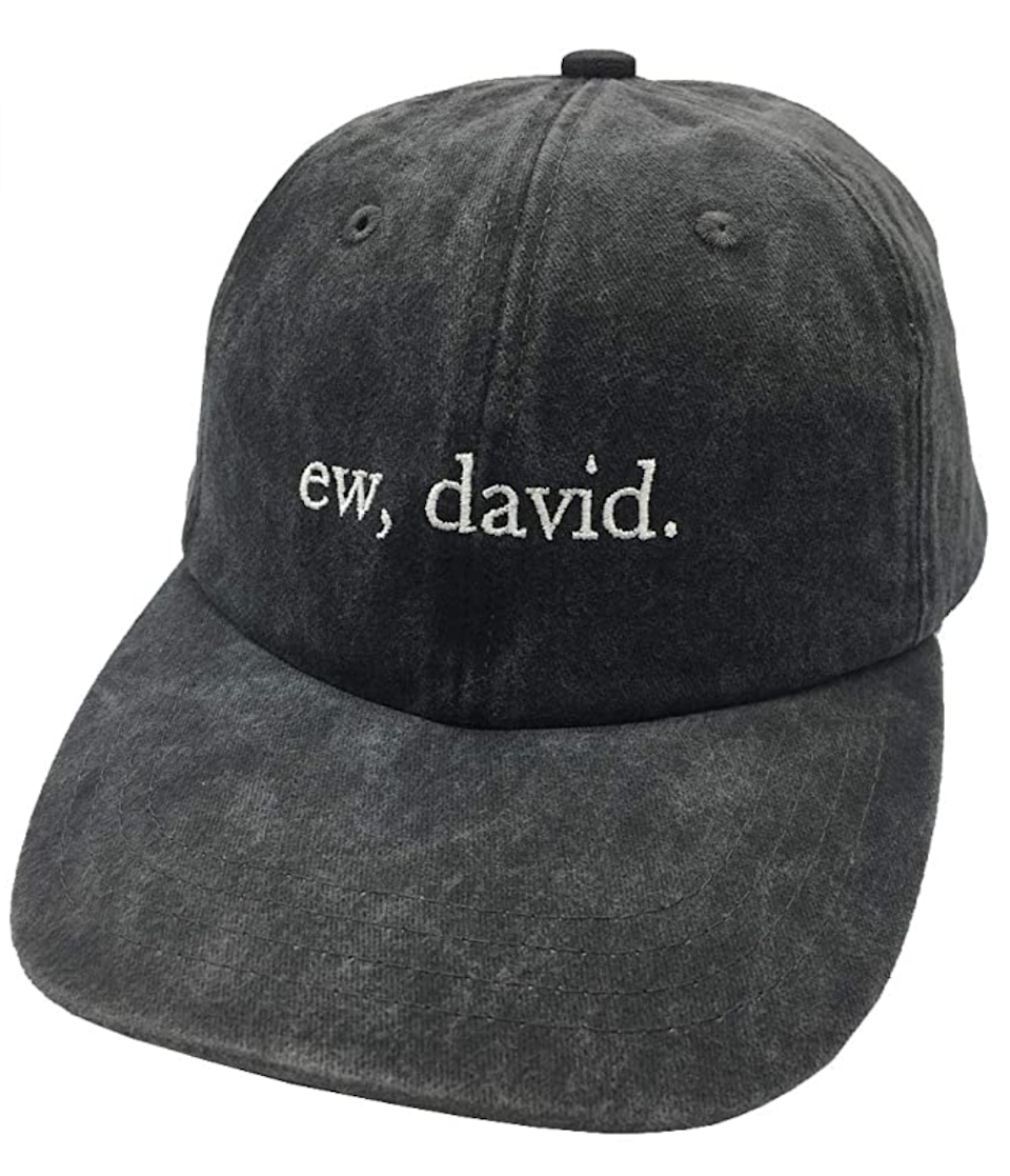 "<br><br><strong>Apear</strong> Ew, David. Baseball Cap, $, available at <a href=""https://www.amazon.com/Embroidered-Adjustable-Vintage-Washed-Baseball/dp/B08L3VMMSJ/ref=sr_1_4_sspa"" rel=""nofollow noopener"" target=""_blank"" data-ylk=""slk:Amazon"" class=""link rapid-noclick-resp"">Amazon</a>"