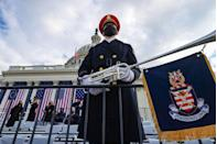 <p>A member of the U.S. Army Band Pershing's Own looks on ahead of the inauguration of U.S. President-elect Joe Biden on the West Front of the Capitol.</p>