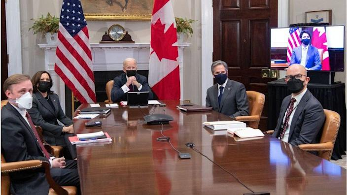 Mr Trudeau, far right, appears on screen during the virtual meeting