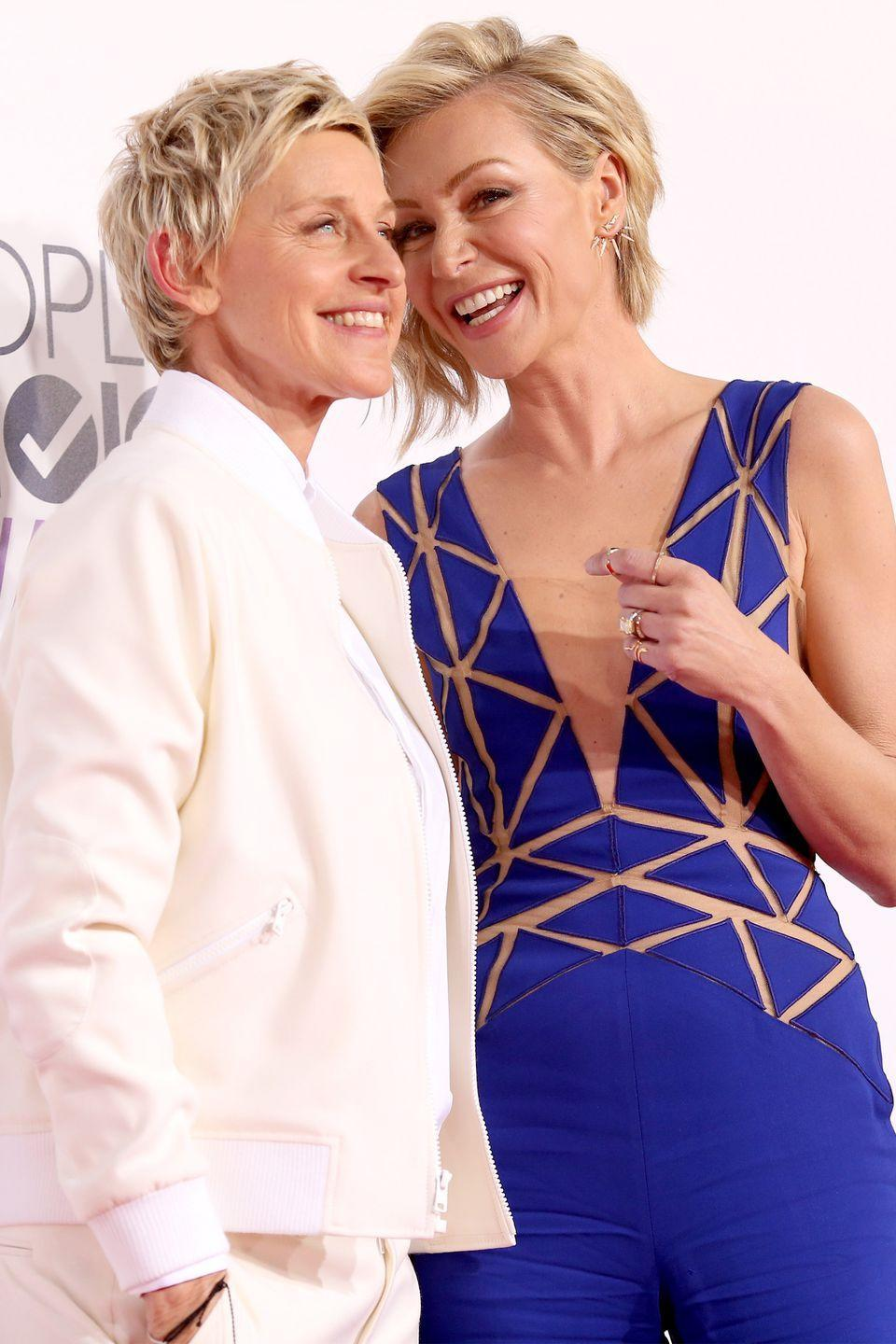 "<p>Ellen DeGeneres and Portia de Rossi started dating back in 2004, and their relationship moved swiftly from there. By 2005, the couple was sharing a home in Los Angeles and DeGeneres (who's 15 years de Rossi's senior) told <a href=""http://people.com/archive/cover-story-ellen-at-home-at-ease-vol-64-no-20/"" rel=""nofollow noopener"" target=""_blank"" data-ylk=""slk:People"" class=""link rapid-noclick-resp""><em>People</em></a><em>,</em> ""It's the first time that I've known in every cell of my being that I'm with somebody for the rest of my life."" The two were married in 2008, after same-sex marriage was legalized in their home-state of California, and have been together ever since.</p>"