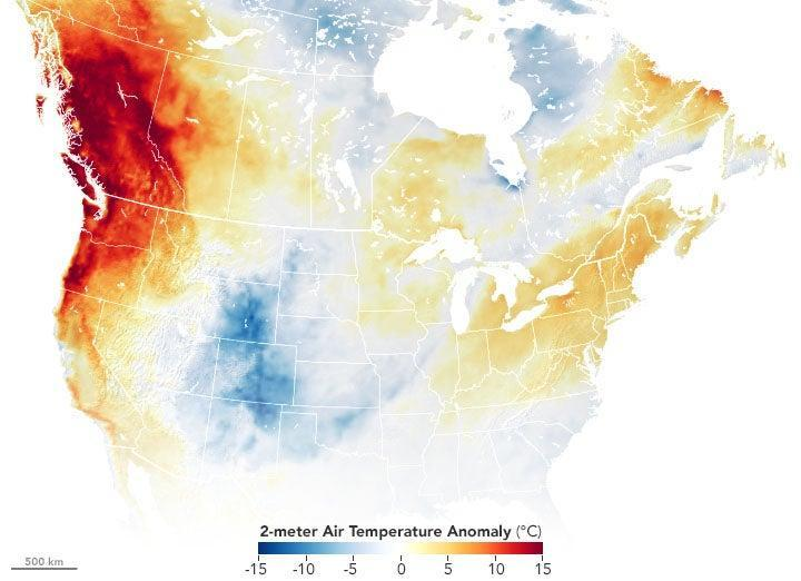 Satellite imagery taken by NASA measures the air temperatures in portions of the US and Canada (NASA)