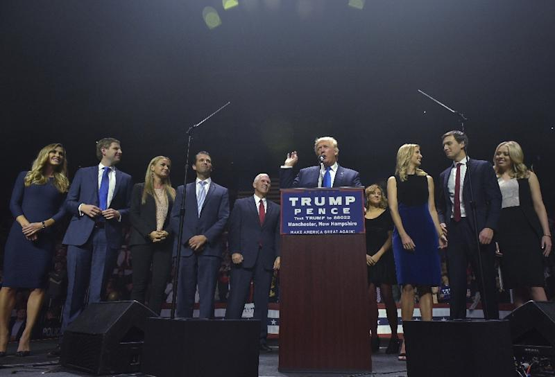 Republican presidential nominee Donald Trump speaks during a rally in Manchester, New Hampshire (AFP Photo/Mandel Ngan)