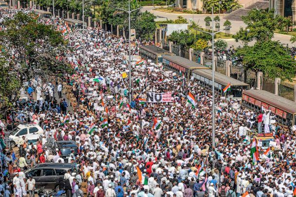PHOTO: Demonstrators hold placards as they wave Indian national flags during a protest organised by various Muslim organisations and opposition parties against India's new citizenship law, in Chennai on Feb. 19, 2020. (Arun Sankar/AFP via Getty Images)