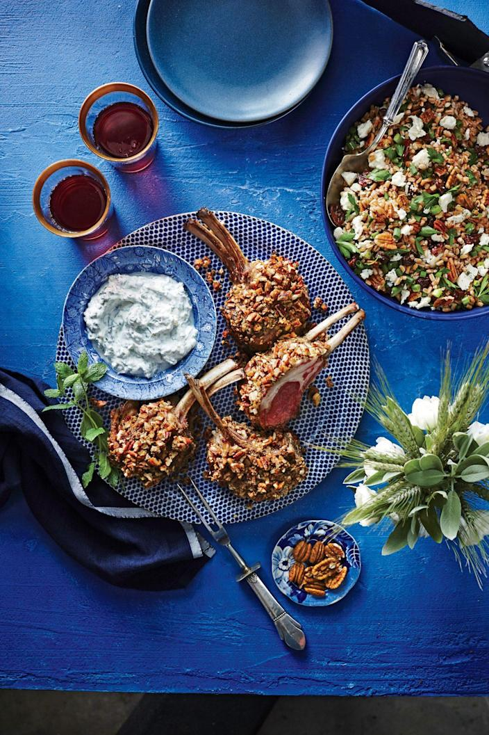 """<p><strong>Recipe: <a href=""""https://www.southernliving.com/recipes/pecan-crusted-rack-lamb-mint-dipping-sauce"""" rel=""""nofollow noopener"""" target=""""_blank"""" data-ylk=""""slk:Pecan-Crusted Rack of Lamb with Mint Dipping Sauce"""" class=""""link rapid-noclick-resp"""">Pecan-Crusted Rack of Lamb with Mint Dipping Sauce</a></strong></p> <p>A homemade mint dipping sauce is a great companion for crusted lamb.</p>"""