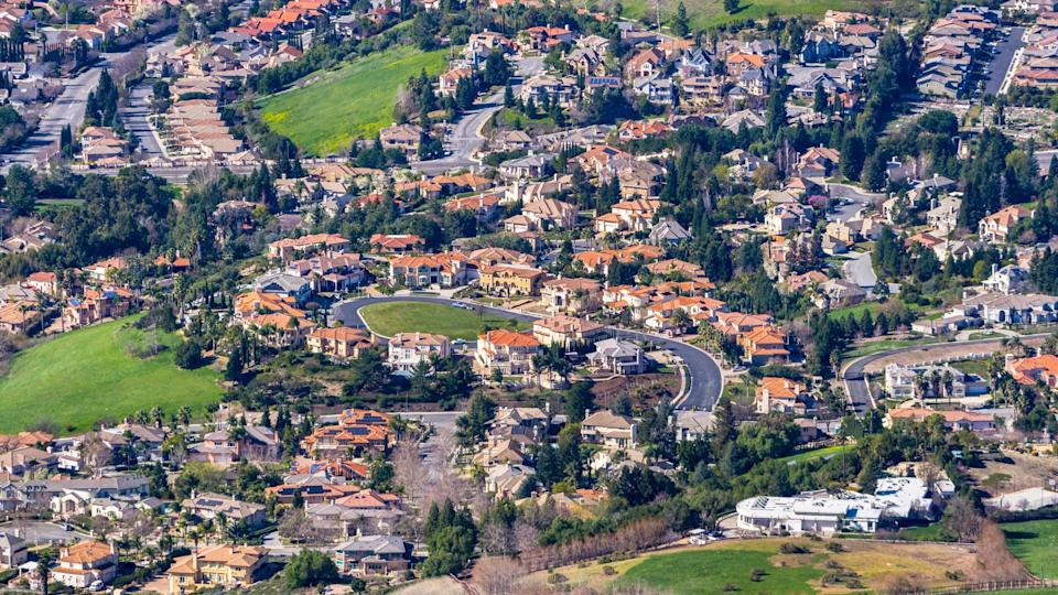 Aerial view of a residential neighborhood on a sunny day, Fremont, east San Francisco bay area, California.