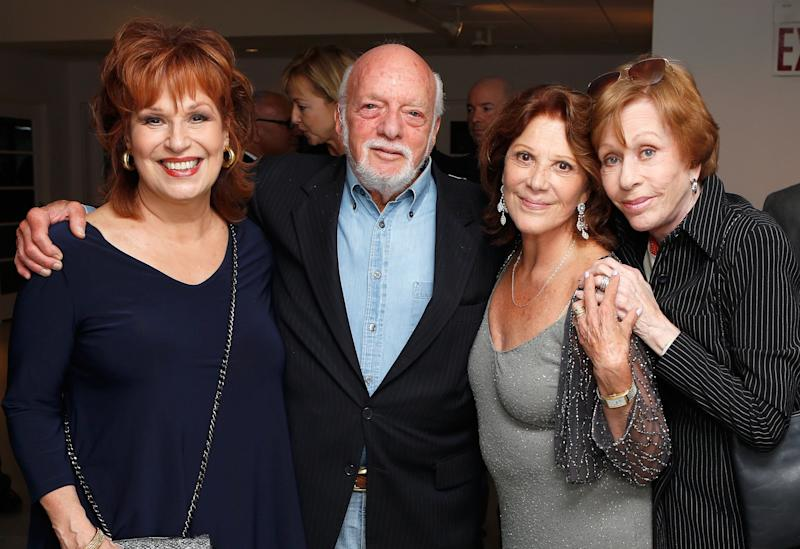 NEW YORK, NY - SEPTEMBER 17: (L-R) Joy Behar, Harold 'Hal' Prince, Linda Lavin and Carol Burnett pose backstage after a performance by Linda Lavin at 54 Below on September 17, 2012 in New York City. (Photo by Cindy Ord/Getty Images for 54 Below)