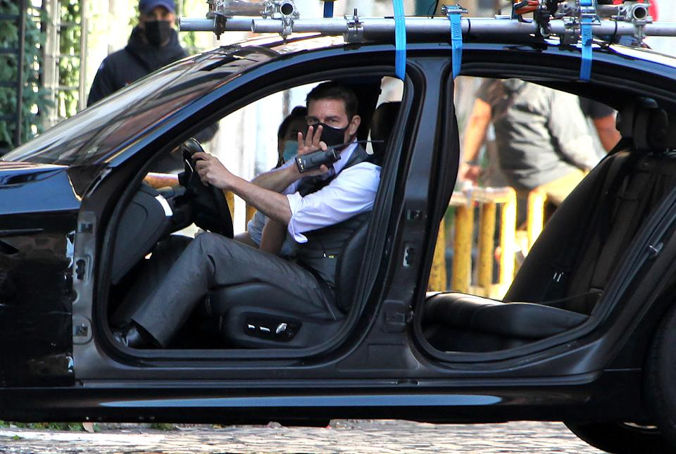 Tom Cruise on the set of 'Mission: Impossible 7' in Rome. (Credit: Marco Ravagli/Barcroft Media via Getty Images)