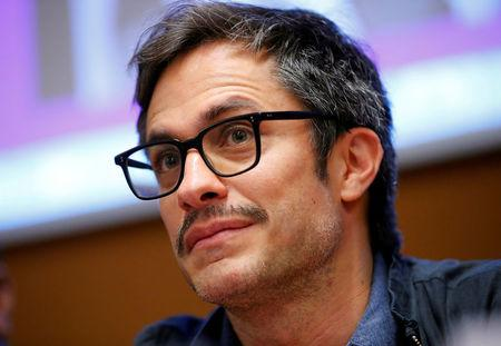 """Mexican actor Gael Garcia Bernal attends a side event on """"Combatting atrocity, crimes, corruption and impunity in Mexico"""" during the Human Rights Council at the United Nations in Geneva, Switzerland, March 13, 2018. REUTERS/Denis Balibouse"""