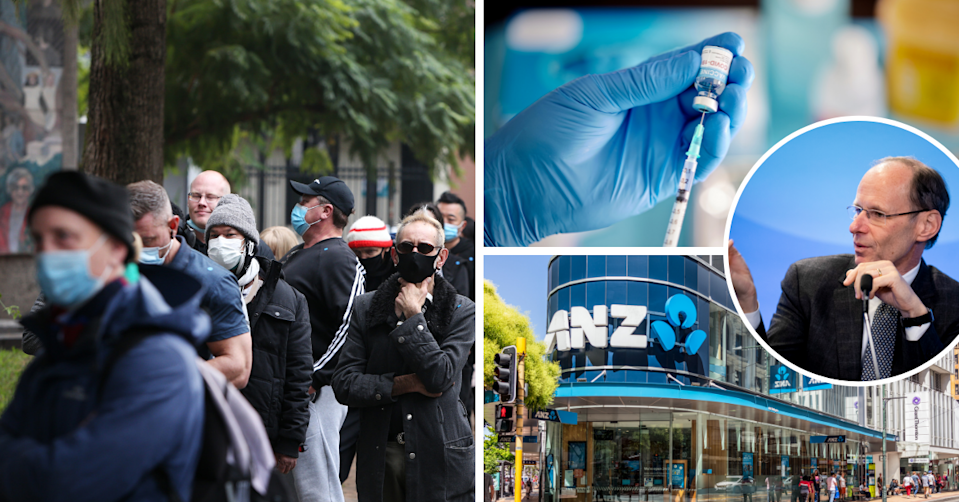 People line up in Sydney wearing masks. Gloved hands preparing a COVID-19 vaccine. ANZ CEO Shayne Elliott on a blue background. The exterior of an ANZ branch.