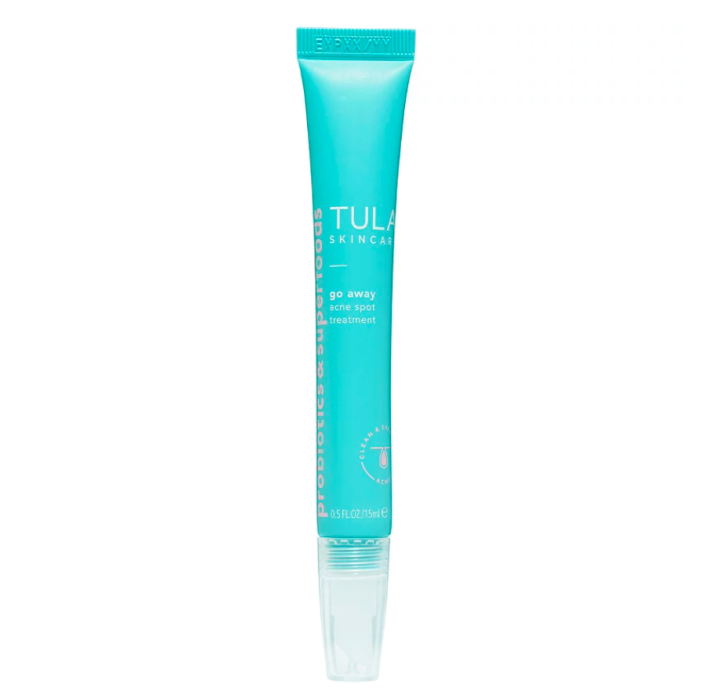 """<p><strong>Tula</strong></p><p>ulta.com</p><p><strong>$20.00</strong></p><p><a href=""""https://go.redirectingat.com?id=74968X1596630&url=https%3A%2F%2Fwww.ulta.com%2Fgo-away-acne-spot-treatment%3FproductId%3Dpimprod2009738&sref=https%3A%2F%2Fwww.marieclaire.com%2Fbeauty%2Fg35888853%2Facne-spot-treatment%2F"""" rel=""""nofollow noopener"""" target=""""_blank"""" data-ylk=""""slk:SHOP IT"""" class=""""link rapid-noclick-resp"""">SHOP IT </a></p><p>There's nothing more annoying than noticing a dark spot post-pimple. Thanks to licorice and niacinamide, this targeted treatment gets rid of blemishes fast, while simultaneously fading hyperpigmentation to reveal zero trace of a breakout. </p>"""