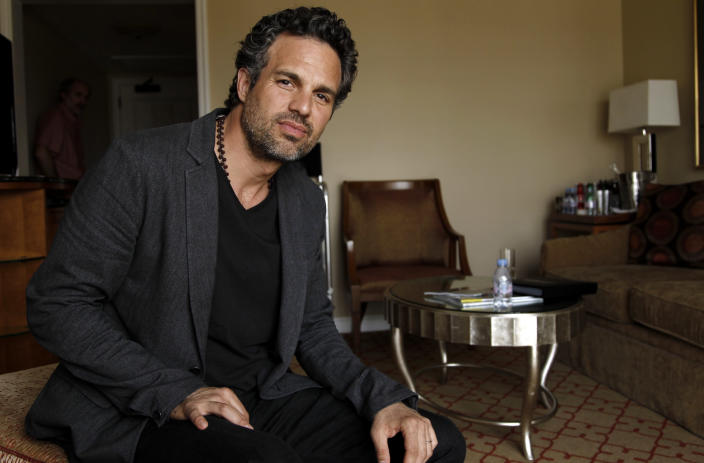 """In this April 12, 2012 photo, cast member Mark Ruffalo, from the upcoming film """"The Avengers"""", poses for a portrait in Beverly Hills, Calif. The film will be released in theaters on May 4. (AP Photo/Matt Sayles)"""