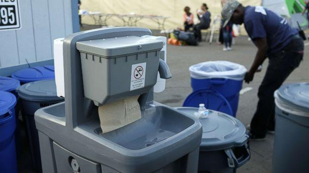 PHOTO: A hand washing station is seen near a tent city in San Diego as part of the city's efforts to combat a deadly hepatitis A outbreak, Oct. 9, 2017. (John Gastaldo/ZUMA Press via Splash News)