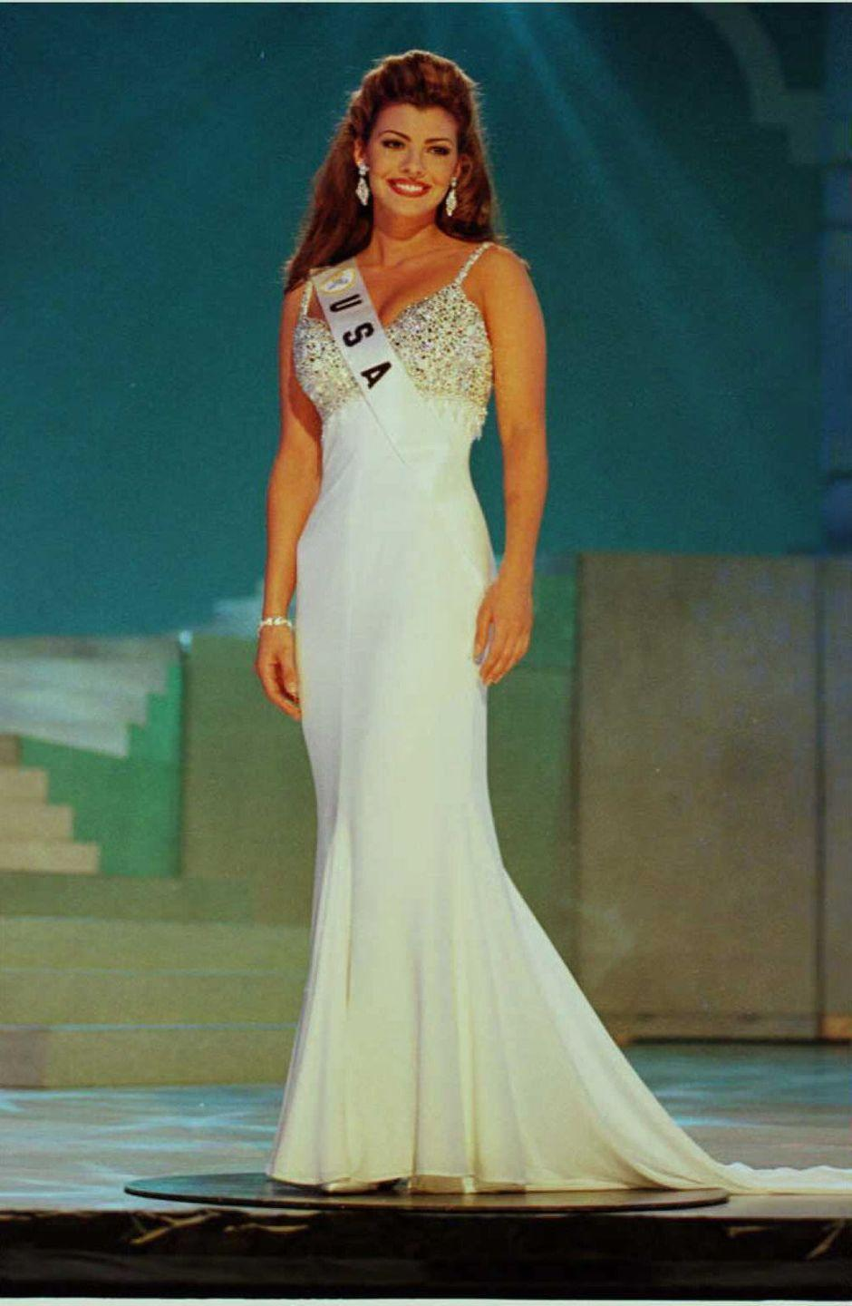 """<p>In 1996, Ali won the title of Miss USA while representing her native Louisiana in the competition. She was crowned by the outgoing Miss USA, <a href=""""https://www.youtube.com/watch?v=lhiQC3M2kV8"""" rel=""""nofollow noopener"""" target=""""_blank"""" data-ylk=""""slk:Shanna Moakler"""" class=""""link rapid-noclick-resp"""">Shanna Moakler</a>. </p>"""
