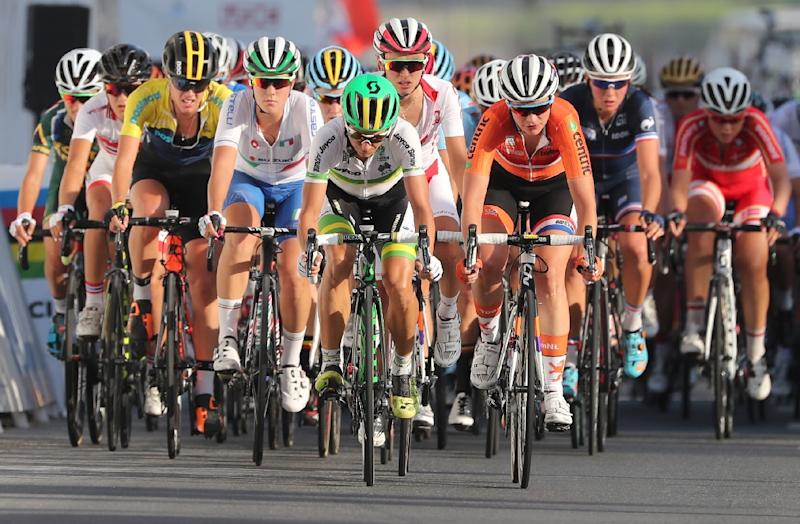 Riders compete in the women's elite road race event as part of the 2016 UCI Road World Championships on October 15, 2016, in the Qatari capital Doha (AFP Photo/Karim Jaafar)