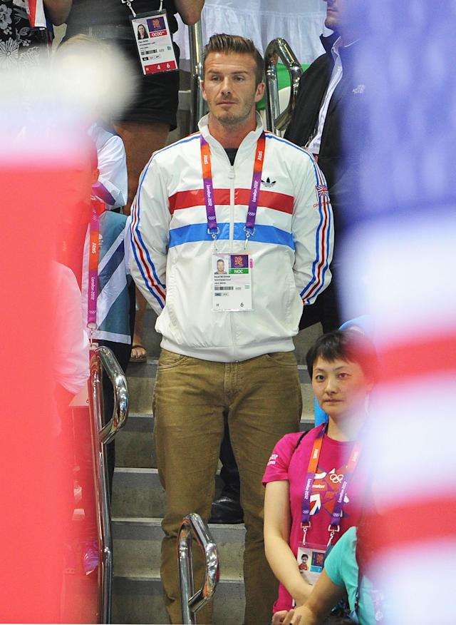 LONDON, ENGLAND - AUGUST 11: David Beckham attends the Men's 10m Platform Diving Final on Day 15 of the London 2012 Olympic Games at the Aquatics Centre on August 11, 2012 in London, England. (Photo by Pascal Le Segretain/Getty Images)